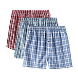 (3 pack) Cotton Woven Assorted Plaid Boxer Underwear blue, red