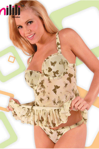 Milili 6533 Underwire Butterfly Babydoll & Thong Set