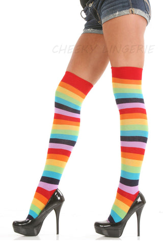 Over The Knee Rainbow Thigh High
