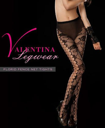 plus size 140-190lbs Valentina Fishnet Sheer Florid Net Tights