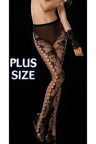 71031Q Plus Size Prima Valentina Fishnet Sheer Florid Net Tights Pantyhose