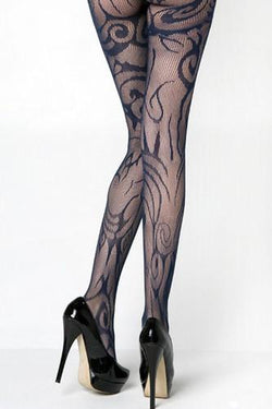 Prima Valentina 71054Q Black Sheer Zebra Net Fishnet Tights