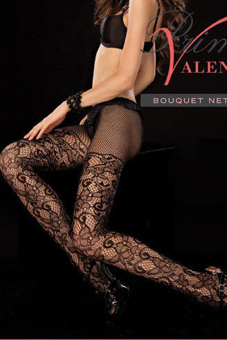 Plus Size Valentina Black Fishnet Sheer Bouquet Net Tights 71615Q