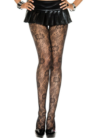 Plus Size Valentina Black Fishnet Sheer Bouquet Net Tights 71615