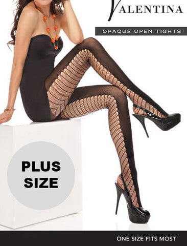 Plus Size Prima Valentina 71617 Sheer and Opaque Open Tights