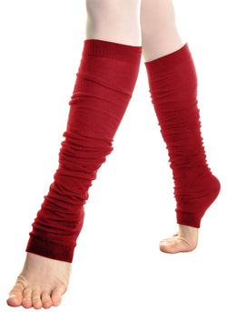 Over Knee High Footless Socks Leg Warmer Red 1