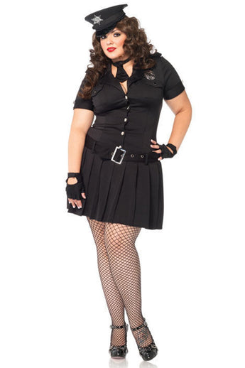 Leg Avenue Women's 4 Piece Arresting Officer Dress With Badge And Fingerless Gloves