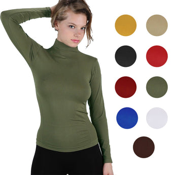 Long Sleeve Fleece Lined Worming Turtleneck Top Main