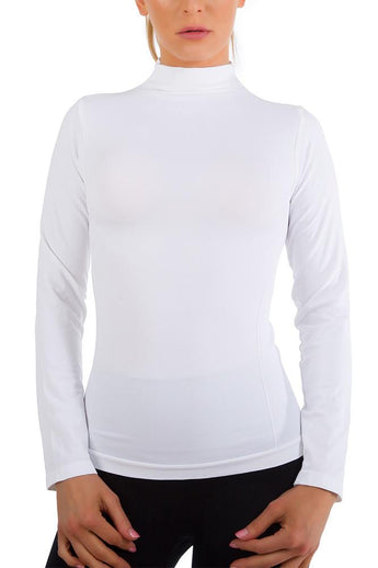 Long Sleeve Worming Fleece Lined Turtleneck Top White 1