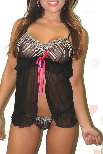 Open Front Floral Lace Babydoll Sleepwear G-string Set 1