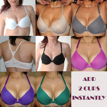 Add 2 Cup Sizes Racerback Front Close Push Up Bra