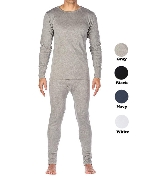 Men's Cotton Fleece Lined Thermal Underwear Two Piece Long Johns 2pc Set