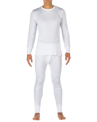 Men's Cotton Fleece Lined Thermal Underwear Two Piece Long Johns 2pc Set white