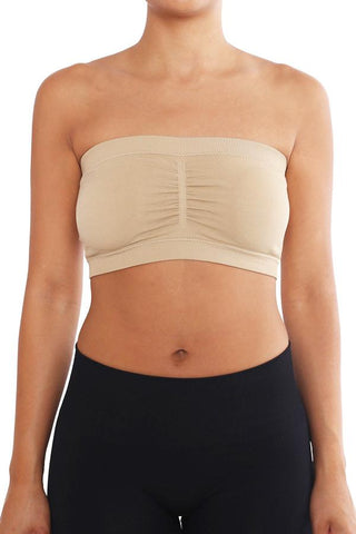 Beige Women's Stretchy Padded Bandeau Tube Top Bra