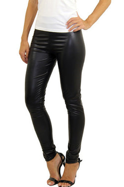 Women's Skinny Black Faux Leather Shiny Wet Look Leggings Pants