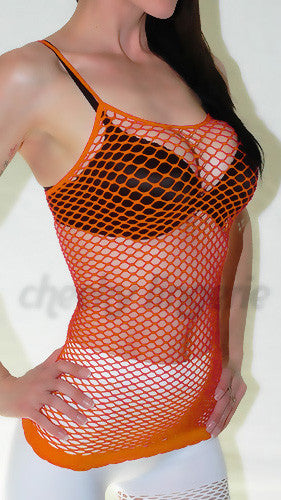 Orange Fishnet Cami With Spaghetti Strap Tank Top - cheek lingerie