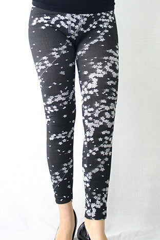 Slim Fit Cherry Blossom Printed Pants Leggings