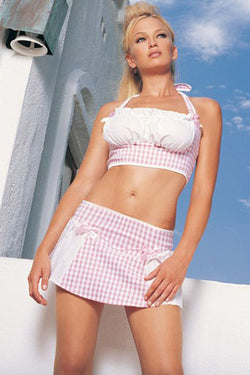 2Pc. Gingham Halter Peasant Top And Mini Skirt Leg Avenue LA-81020