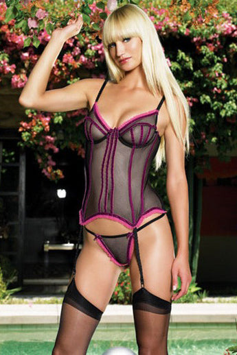 2Pc Mesh Underwire Velvet Trim Corset bustier and G-String Leg Avenue LA-81091