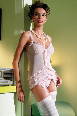 2Pc. Mesh Ruffle Bridal Babydoll Garter with Pearl and G-String Leg Avenue LA-81096