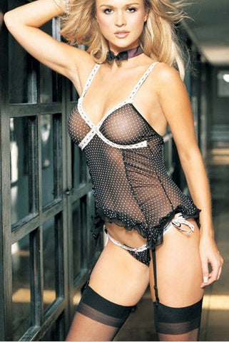 2PC. Mesh Polka Dots Cami Garter and Tie Side G-String leg avenue 8450