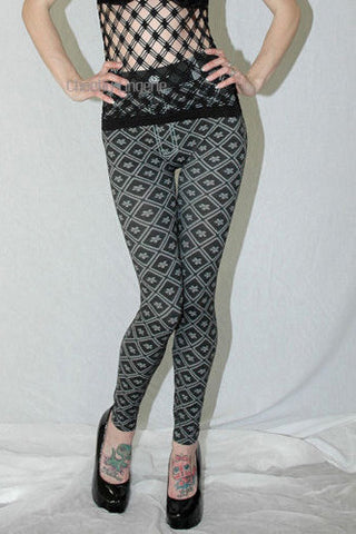 Slim Fit Diamonds Printed Pants Leggings
