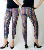 Women's Slim Fit Multi-Color Stripe Print One Size Leggings Seamless Tights