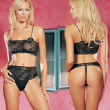 2Pc Lace Crop Top and Lace Up Front Thong Leg Avenue 8408