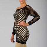 Long Sleeve FishNet Shirt Top Black