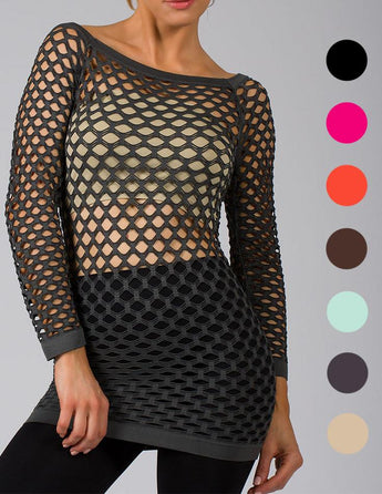 Long Sleeve FishNet Shirt Top Available Colors
