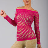Sexy Pink Fishnet Shirt Club Wear Long Sleeve GOGO Dance Top Blouse