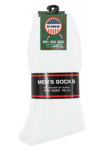 (6-Pack) Men Nylon Dress Socks 10-13
