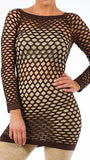 Sexy Brown Fishnet Shirt Club Wear Long Sleeve GOGO Dance Top Blouse