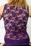 Purple Sleeveless Skinny Fit Moch Neck Top W. Lace Back 1 - Cheeky Lingerie