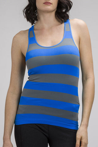 Sleeveless Ribbed Striped Racerback Tank Top Royal Blue