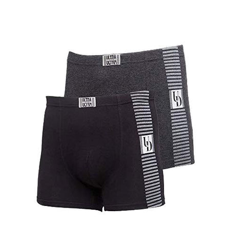 2-Pack Premium Cotton Mid Rise Mens Boxer Underwear black gray