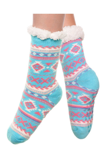3pr Silicone gripper Sherpa-lined X Knitted Thermal Winter Socks