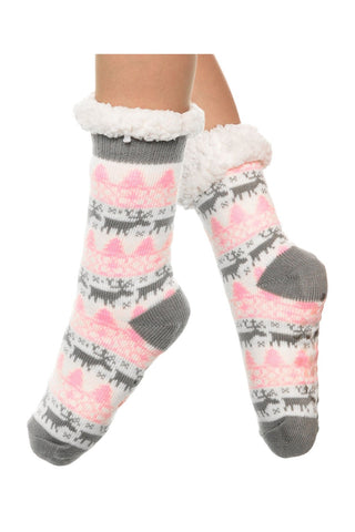 3pr Silicone gripper Sherpa-lined Raindeer Thermal Winter Socks