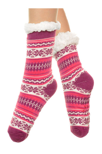 3pr Silicone gripper Sherpa-lined Knitted Thermal Winter Socks