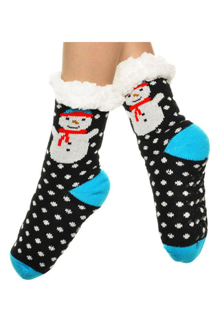 3pr Silicone gripper Sherpa-lined Snow Man Thermal Winter Socks