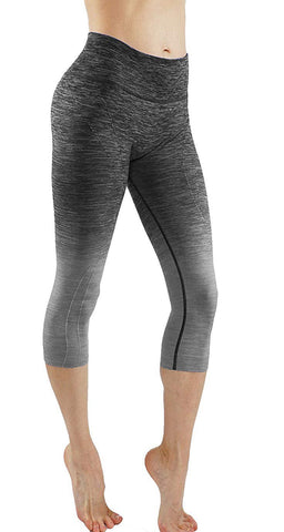 Women's Ombre Flexible Exercise Capri Pants black/gray front