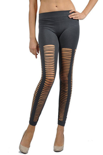 Laser Cut Footless Skinny Seamless Womens Legging Fashion Tights - cheek lingerie
