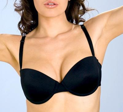 Underwire Strapless Multi-way ADD 2 CUPS Push Up Bra Black