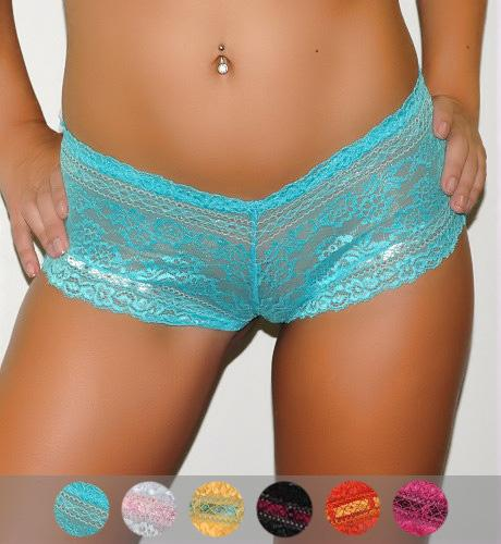 Semi Sheer 2-Tone Lace Boyshort Panties