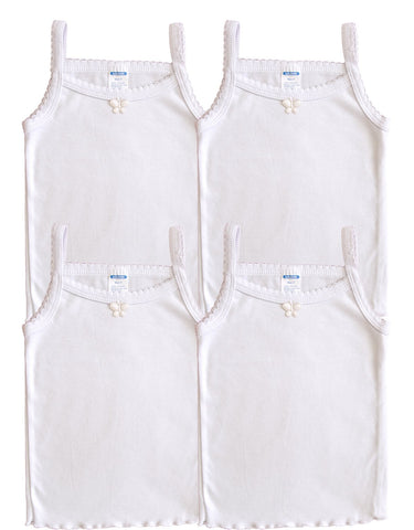 (4-Pack) Girl's Cotton Cami Spaghetti Straps Undershirt Tank Tops White