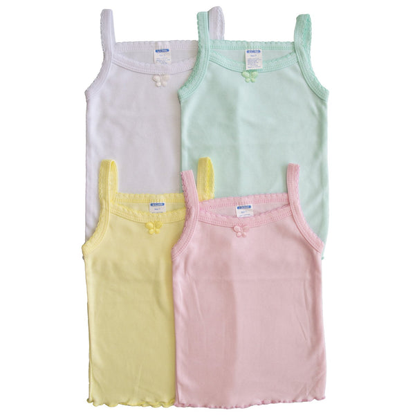 (4-Pack) Girl's Cotton Cami Spaghetti Straps Undershirt Tank Tops Colors