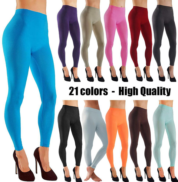 Solid Assorted Color Leggings With Wide Elastic Waistband
