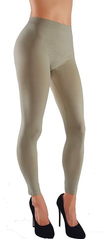 Solid Assorted Color Leggings With Wide Elastic Waistband khaki front