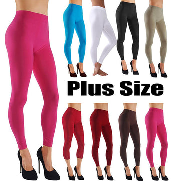 Plus Size Leggings With Wide Elastic Waistband