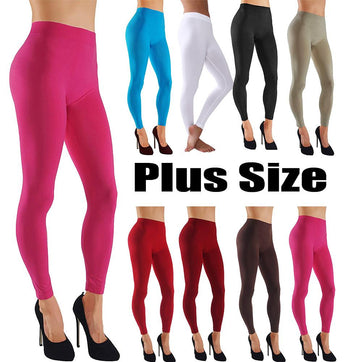 Plus Size Assorted Color Leggings With Wide Elastic Waistband